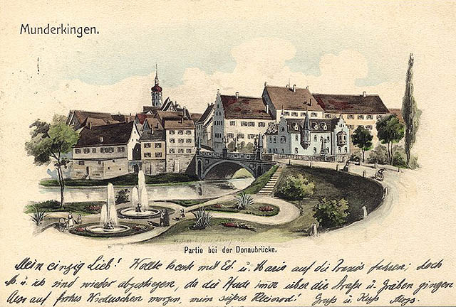 Postkarte, Blick auf Munderkingen anno 1902