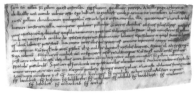 Ausschnitt aus der Ersterwähnung im Jahr 792 n. Chr.