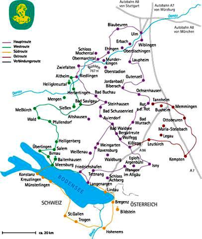 Karte der Oberschwäbischen Barockstraße